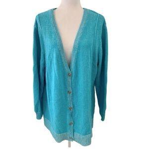 Lane Bryant aqua blue button front cardigan 22/24